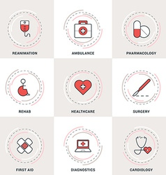 Modern medicine line icons set ambulance vector