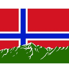 Mountains with flag of Norway vector image vector image
