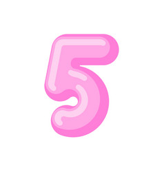 Number 5 candy font caramel alphabet five vector
