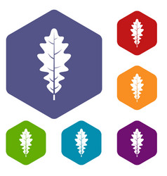 Oak leaf icons set hexagon vector