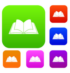Opened book with pages fluttering set color vector