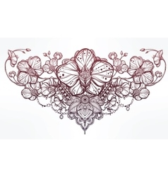 Orchid flower and paisley vector image