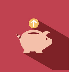 Piggy bank icon on red background vector
