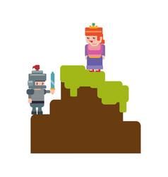 pixelated scenery videogame vector image
