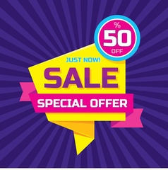 Sale origami concept banner template vector image