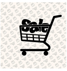 Sale shopping cart week gift box white background vector
