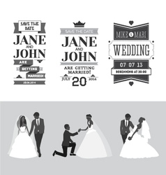 Set of wedding design elements vector
