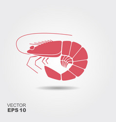 shrimp flat icon vector image