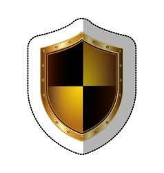 Sticker golden shield with colorful rhombus shape vector
