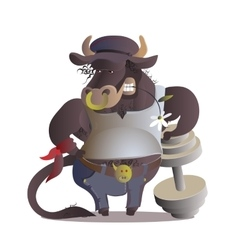 Zodiac sign cartoon taurus vector image