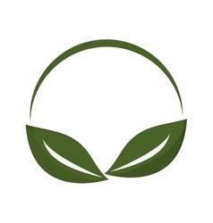Green leaf emblem icon vector