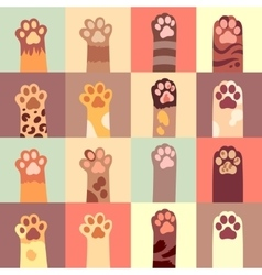 Cats paw flat icon set vector image