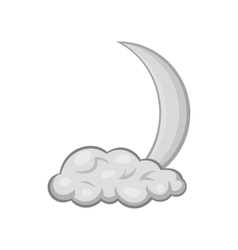 Cloud and crescent moon icon monochrome style vector image