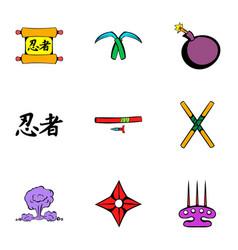 japanese ninja icons set cartoon style vector image