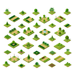 Set of 3d isometric urban parks city natural vector