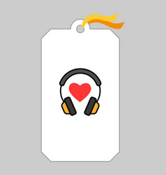 Music tag with headphone and heart vector