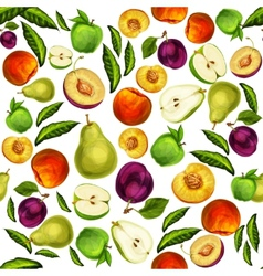 Seamless mixed sliced fruits pattern background vector