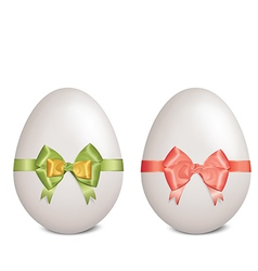 White easter eggs with bows and ribbons vector