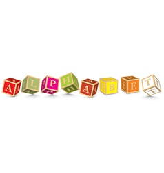 Word alphabet written with alphabet blocks vector
