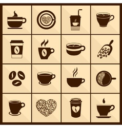 Coffee cup icons black vector