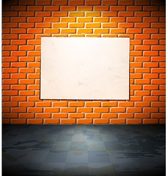 Blank poster on the brick wall vector