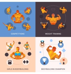 Bodybuilding polygonal set vector