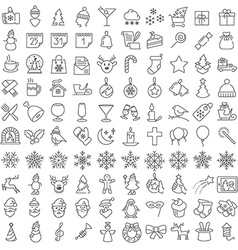 One hundred christmas icons set vector