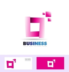 Purple pink corporate business square logo vector