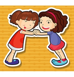 Two girls playing together vector
