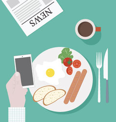 Business breakfast with smartphone vector