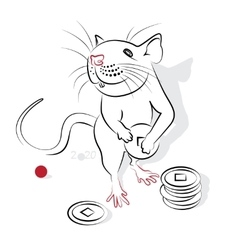 Chinese calligraphy rat 2020 vector