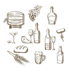 Sketches of alcohol drinks and snacks vector