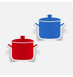 Realistic design element saucepan vector