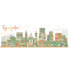 Abstract tegucigalpa skyline with color buildings vector