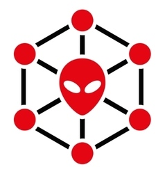 Alien Network Flat Icon vector image
