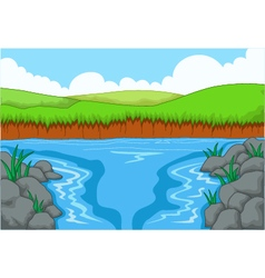 Beauty river with landscape view background vector