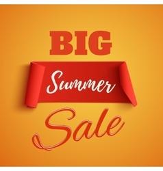 Big summer sale poster on orange background vector image vector image