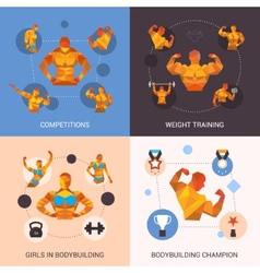 Bodybuilding polygonal set vector