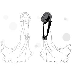 bride silhouette vector image vector image