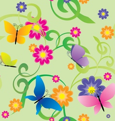 butterflies and flowers seamless background vector image vector image