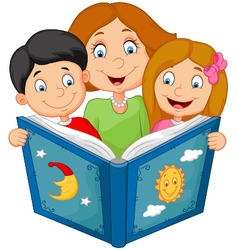Cartoon mother reading with his children vector image vector image