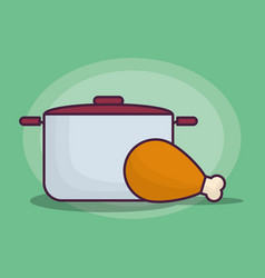 Cooking pot and chicken leg icon vector