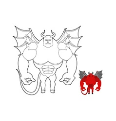 Devil coloring book Red demon with wings and horns vector image vector image