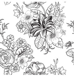 floral engraved seamless pattern flower garden vector image