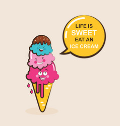 funny ice cream characters vector image vector image