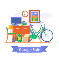 garage sale household used goodsflat style vector image