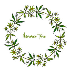 Hand drawn summer wreath vector