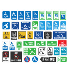 Handicap labels and signs disabled people icons vector
