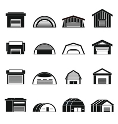 Hangar icons set simple ctyle vector