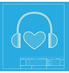 Headphones with heart White section of icon on vector image vector image